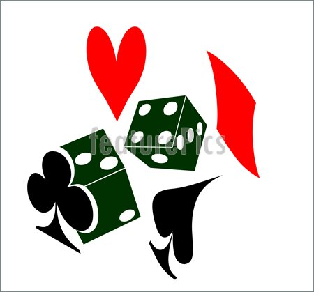 Illustration Of Two Die Or Dice And A Heart Spade Diamond And Club