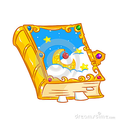 Magic Jewelry Book Fairy Tale Isolated Illustration Cartoon