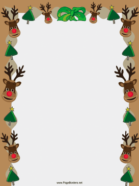 Reindeer And Trees Christmas Border Page Border