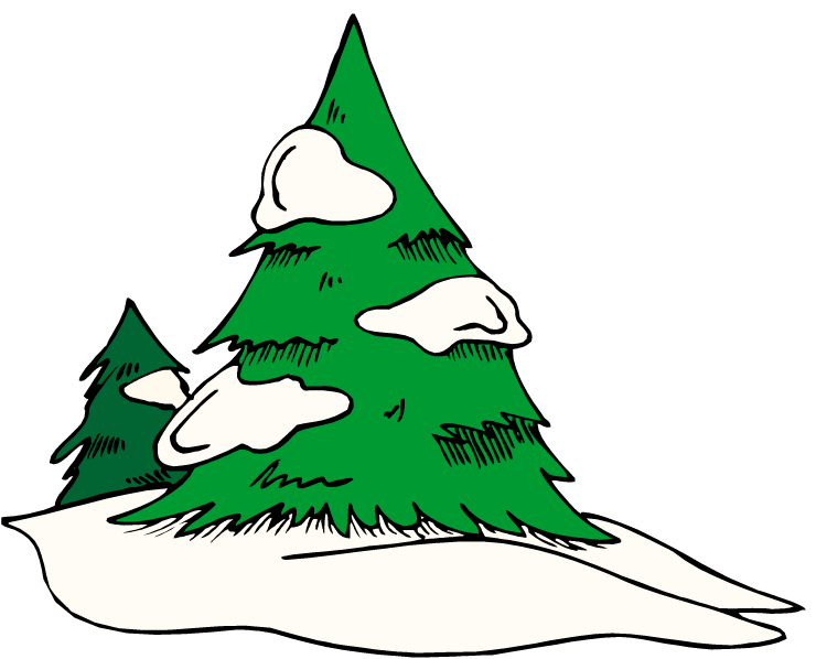 Snowy Pine Trees Carney Designs Custom Party Clipart