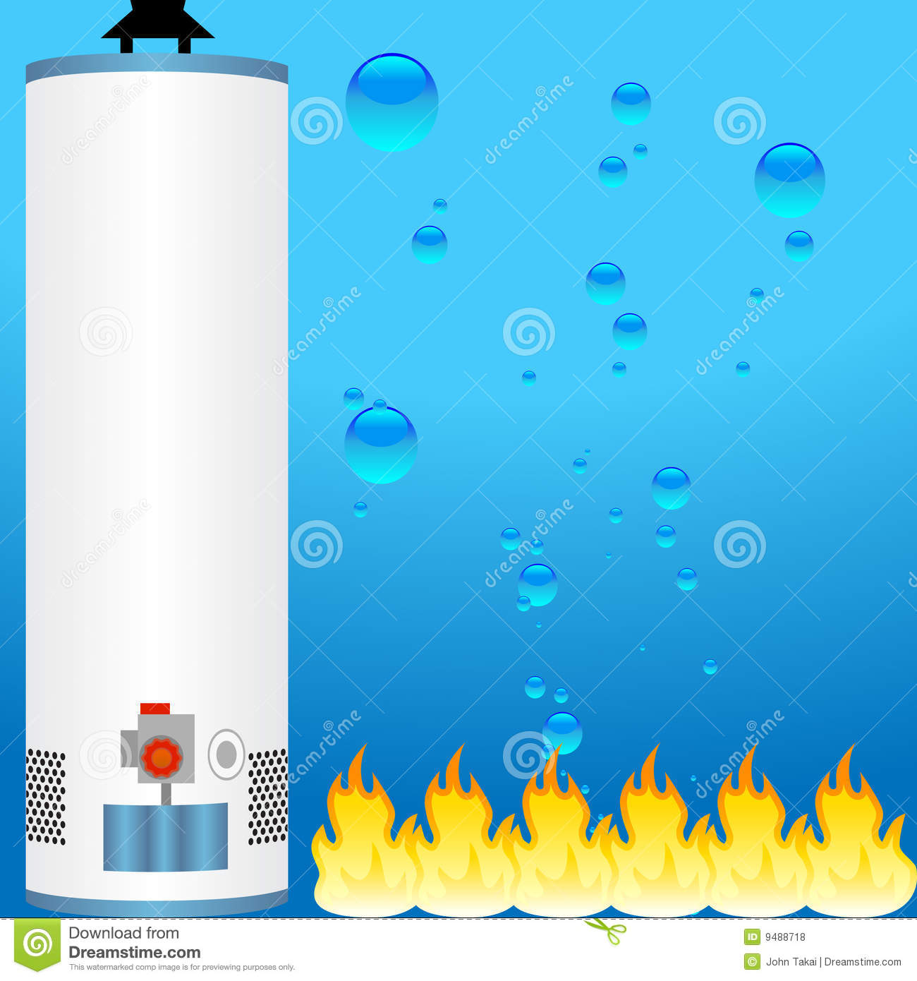 3d Boiler Water Heater With Water And Fire As Background