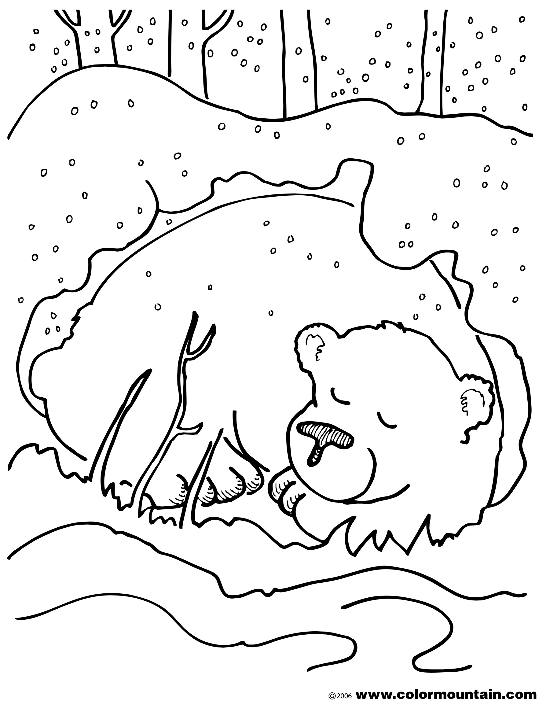 Bears In Caves Colouring Pages