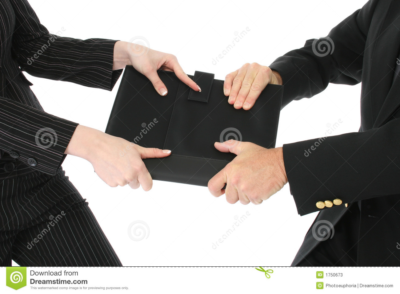 Business Man And Woman Fighting Over Black Leather Notebook  Shot Over