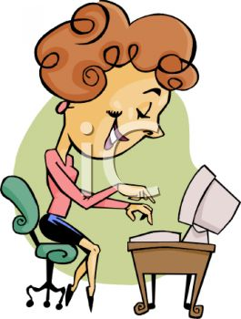 Cartoon Of A Secretary Typing   Royalty Free Clipart Picture