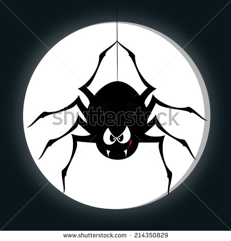 Funny Freaky Spider A Black Cartoon Style Is Snarling And