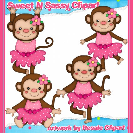 Girl Mod Monkey Elements And Papers Digital Clipart Pink
