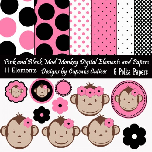 Girl Mod Monkey Pink N Black Commerical Use Clipart N Paper Pack