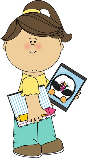 Girl With School Supplies And A Tablet From Mycutegraphics   School