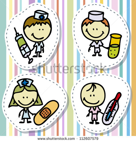 Happy Doctor Children With Medical Tools Plays Hospital   Stock Photo