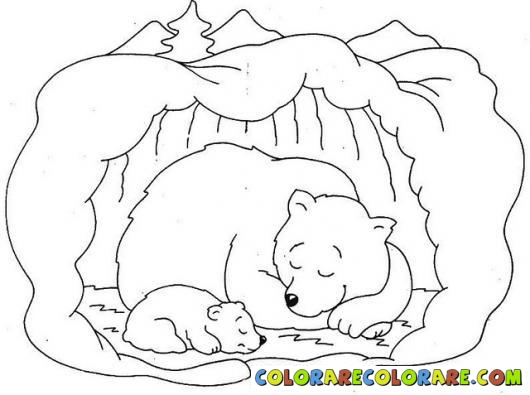 Hibernation Bear Colouring Pages