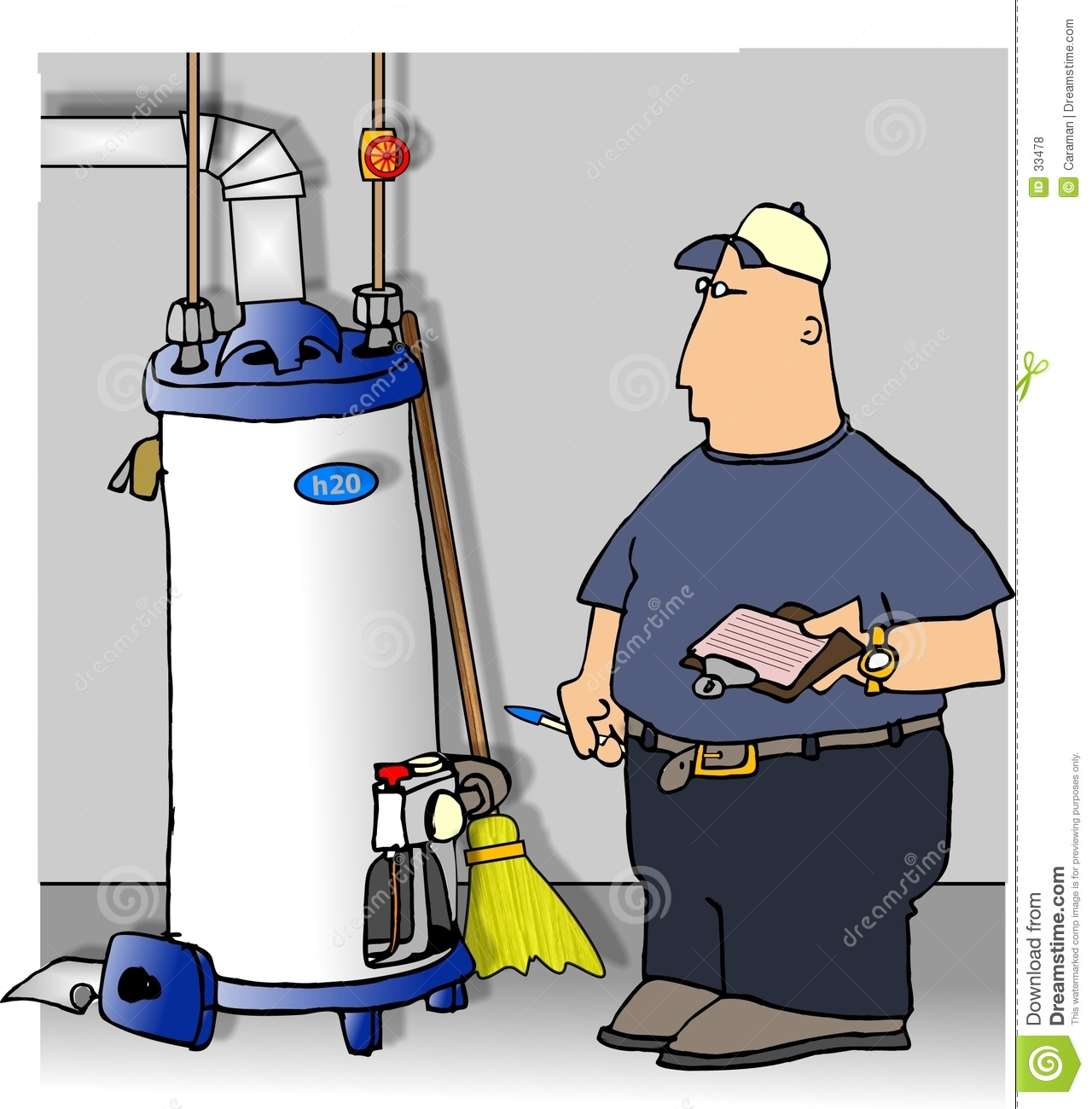 Illustration That I Created Depicts A Man Checking A Gas Water Heater