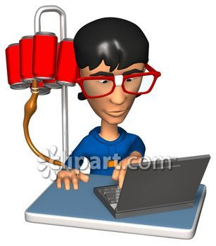 Kid Typing On A Laptop With A Soda Pop Iv Royalty Free Clipart Image