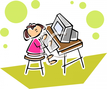 Little Girl Typing At A Computer   Royalty Free Clip Art Picture