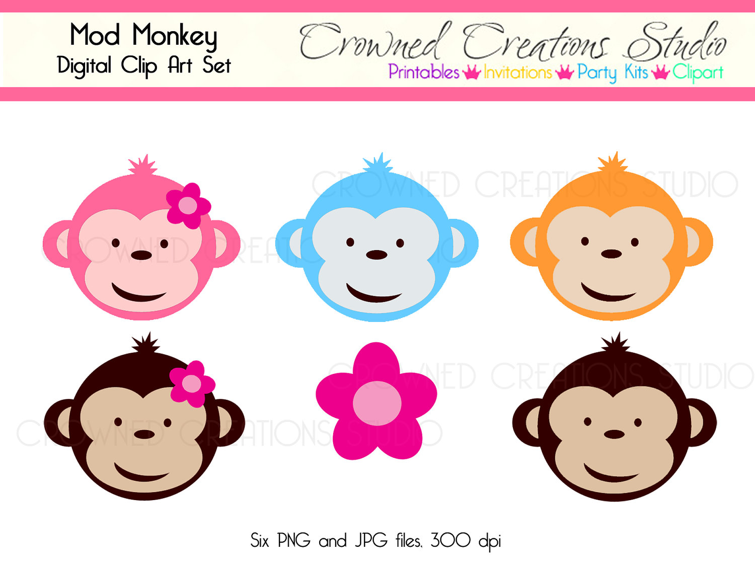 Mod Monkey Clip Art Set With Pink Flower By Crownedcreations