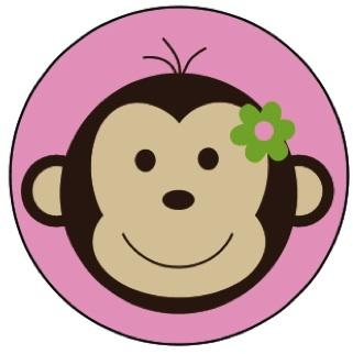 Mod Monkey Pink Edible Image Cupcake Toppers