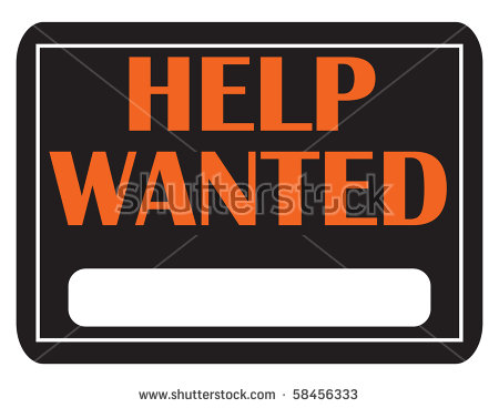 Black And Orange Help Wanted Sign With Copy Space   Stock Photo
