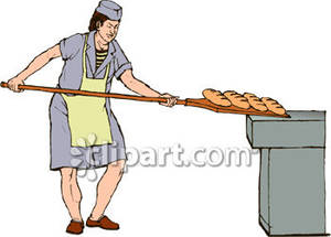 Bread Out Of The Oven In A Bakery   Royalty Free Clipart Picture