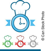 Chef Time   Icon Of A Clock Wearing A Chef Hat