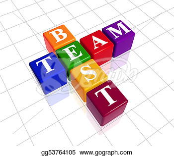 Clip Art   3d Colour Boxes With Text   Best Team Crossword  Stock