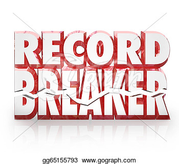 Clip Art   Record Breaker 3d Words Historic Best Score Results  Stock