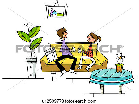 Drawing   Couple Sitting On A Couch And Holding Tea Cups  Fotosearch