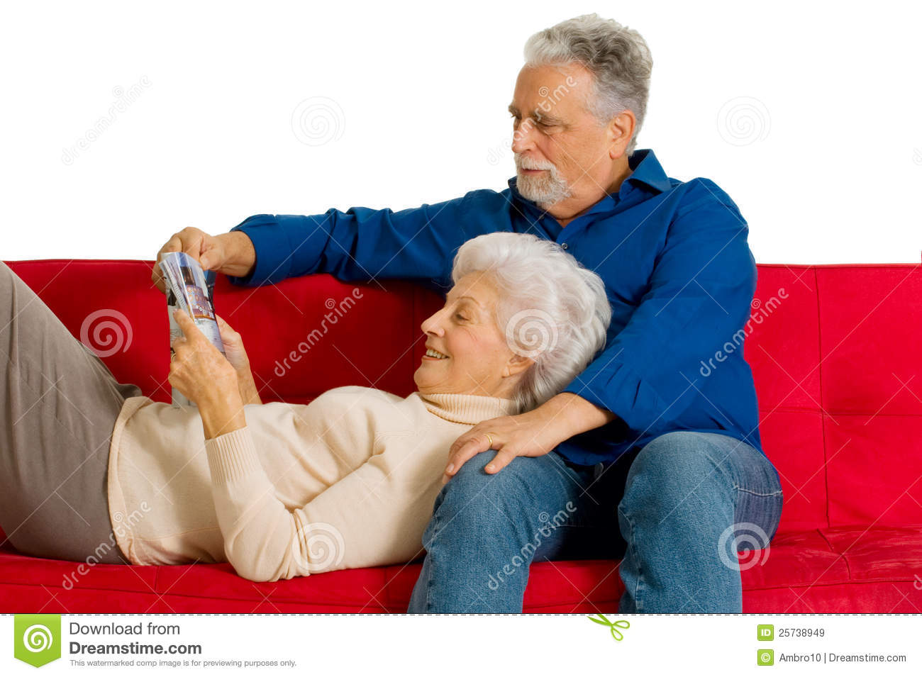 Elderly Couple On The Couch Royalty Free Stock Images   Image