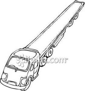 Extra Long Flatbed Truck   Royalty Free Clipart Picture