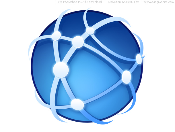 Global Network Around The Earth Global Communications Icon  Blue