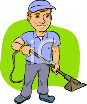 Carpet Cleaning Service Worker   Royalty Free Clip Art Illustration