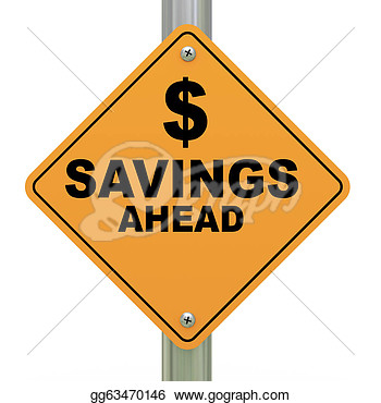 Clipart   3d Savings Ahead Road Sign  Stock Illustration Gg63470146