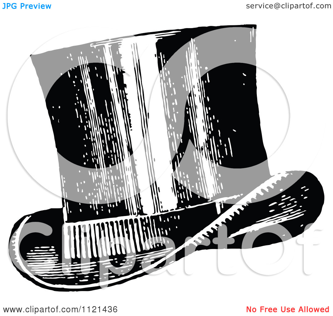 Clipart Of A Retro Vintage Black And White Top Hat   Royalty Free