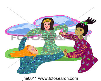 Clipart Of Three Women Twirling In A Circle Jhe0011   Search Clip Art