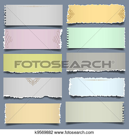 Clipart   Ten Notes Paper In Pastel Colors  Fotosearch   Search Clip