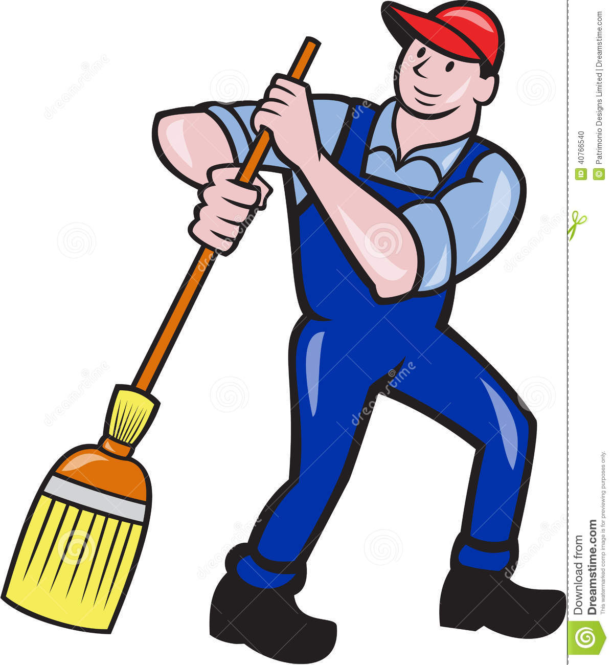 Illustration Of A Janitor Cleaner Worker Sweeping With Broom Viewed