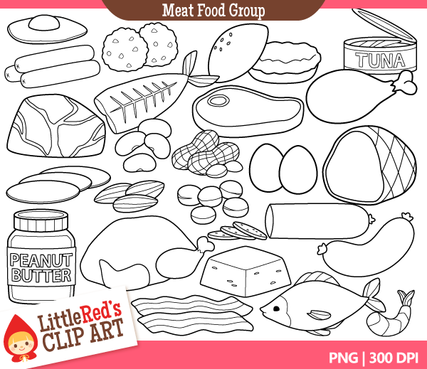 Black And White Food Groups Clipart Clipart Suggest