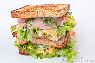 Meat Lettuce Cheese And Egg Salad Big Sandwich On Toasted Bread