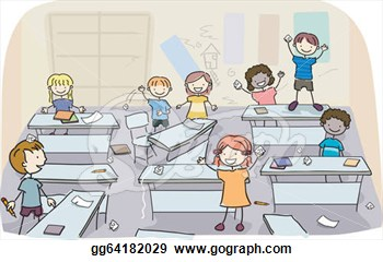 Stick Kids In Messy Classroom  Eps Clipart Gg64182029   Gograph