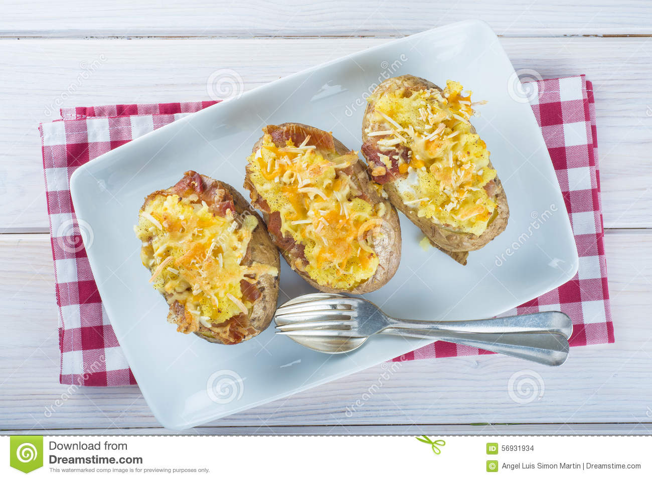 Twice Baked Potatoes Stuffed With Meat Jam Cheese And Egg