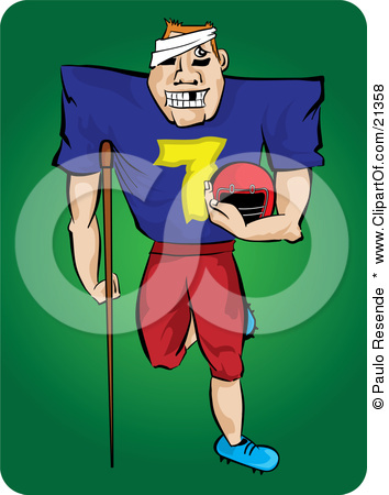 21358 Clipart Illustration Of A Grinning Injured Football Player With