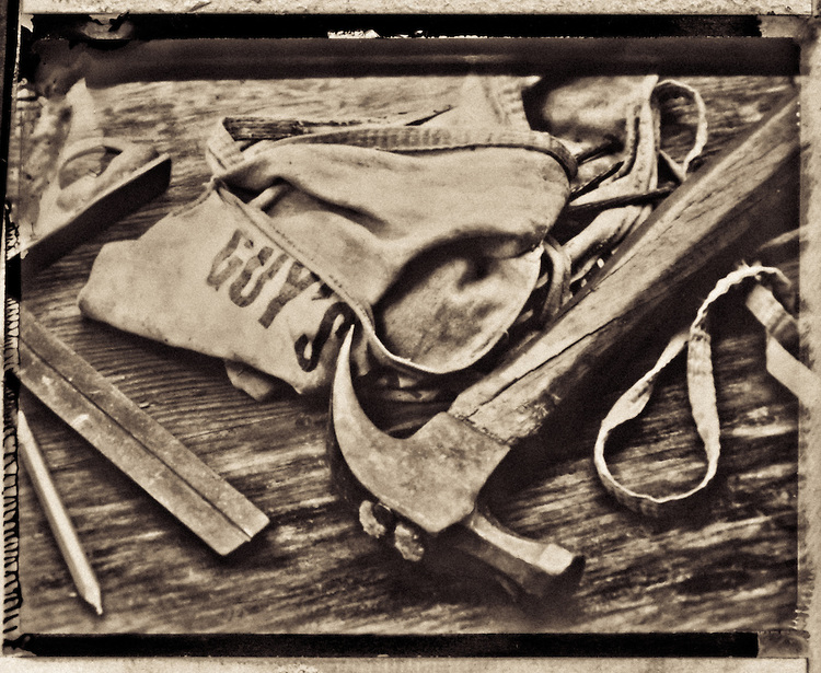 Carpenter S Tools Laid Out On An Old Wooden Workbench  A Claw Hammer