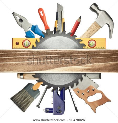 Carpentry Background  Tools Underneath The Wood Plank    Stock Photo
