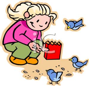 Child Feeding The Birds   Royalty Free Clipart Picture