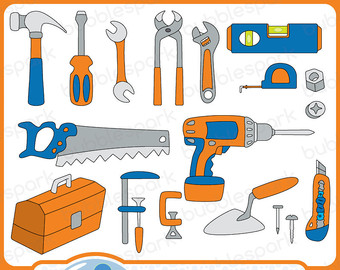 Dad Tools  Digital Clip Art Pack Tools Saw Screwdriver Hamer