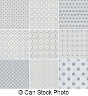 Dotset Faded Blue Retro Polka Dot Seamless Patternsset Vector Clipart