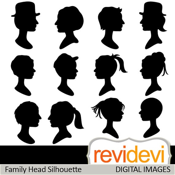Family Head Silhouette 07410   Digital Graphic Cliparts   Commercial