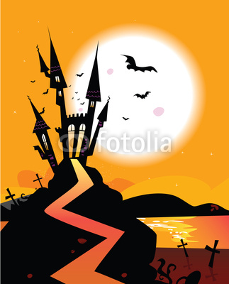 Haunted Castle With Flying Bats  Vector Illustration  Stock Image