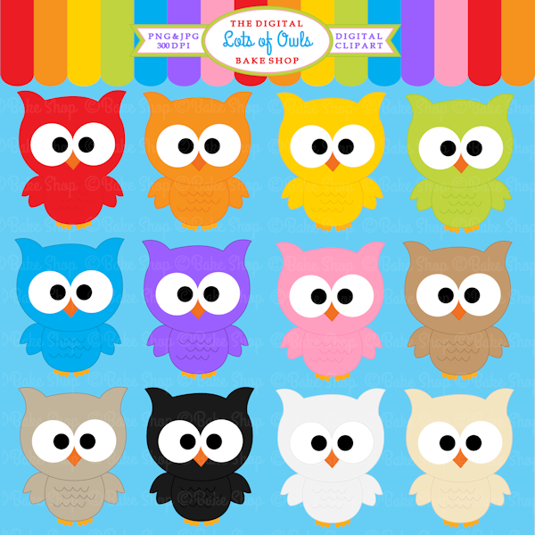 Lots Of Owls Clipart   12 Colorful Owl For Educational Use Crafts