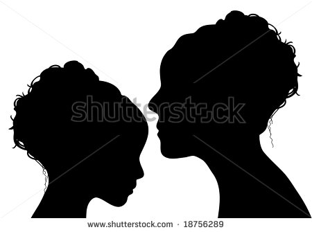 Silhouette Of Mother And Daughter Stock Photo 18756289   Shutterstock