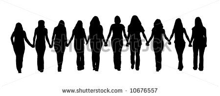 Silhouette Of Ten Young Women Walking Hand In Hand    Stock Photo