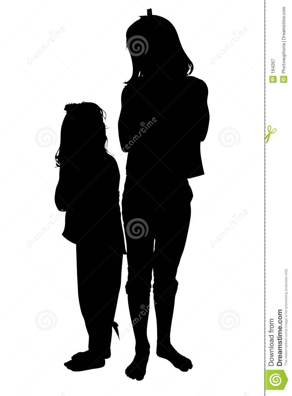 Silhouette Over White With Clipping Path  Two Small Girls Looking At